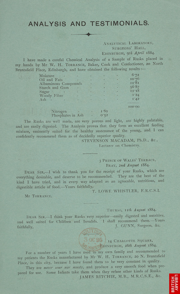 Advert for WH Torrance's rusks, reverse side